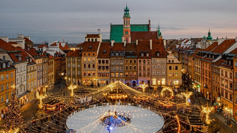 Poland lights over old town