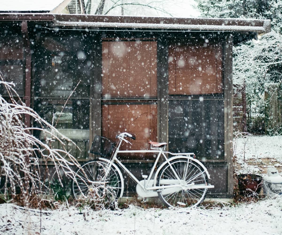 snowing bicycle in durham